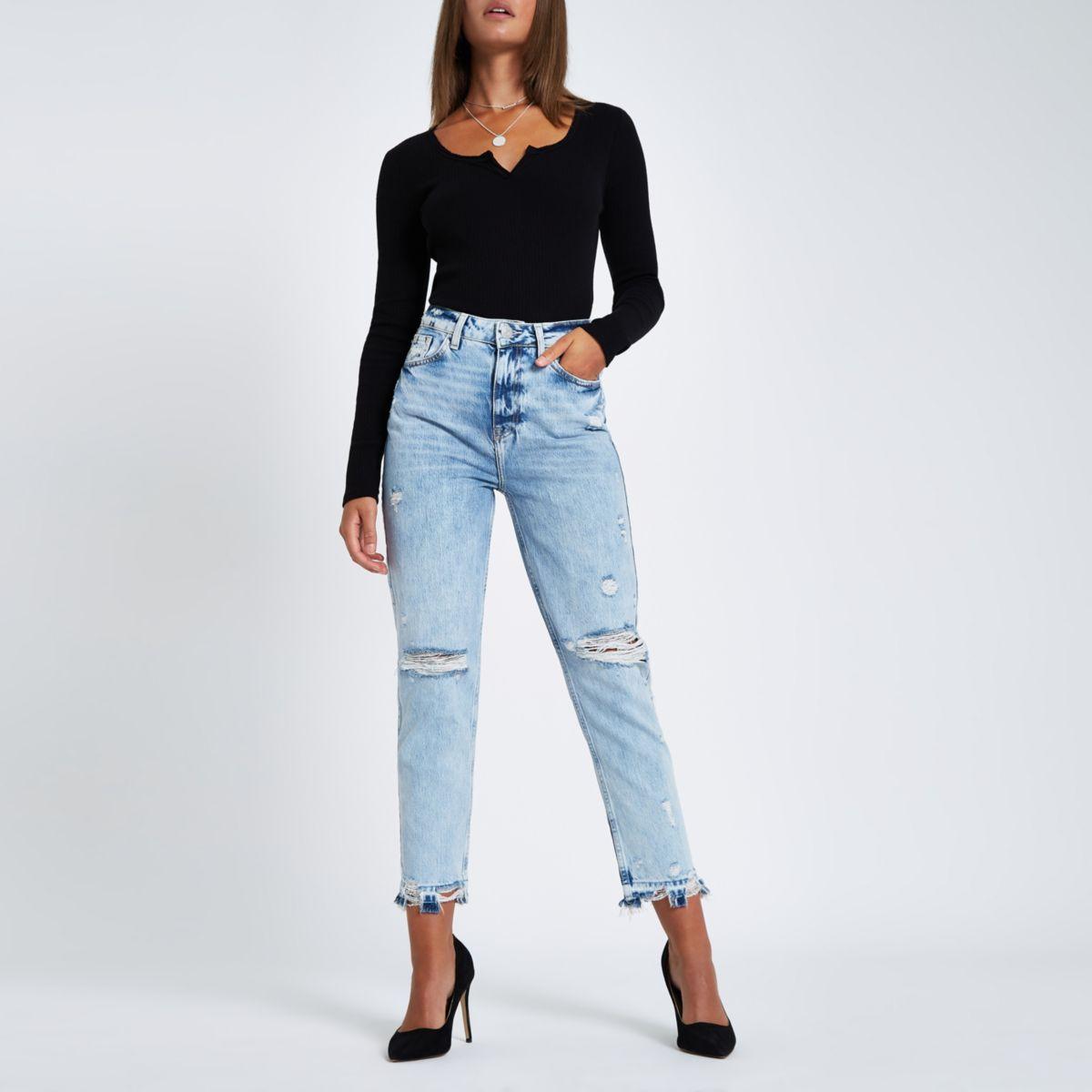 ripped waist Light jeans high premium blue vqtIZF