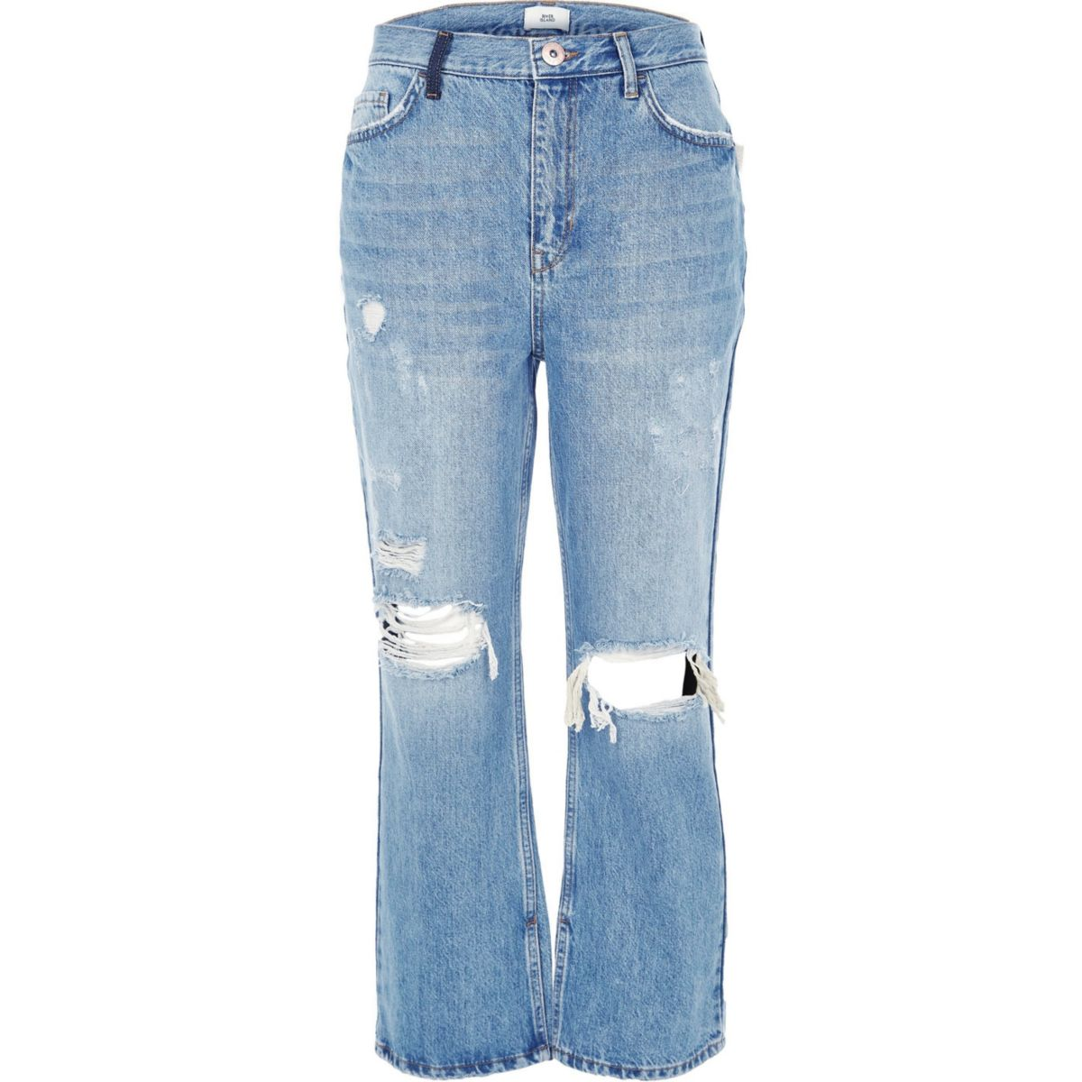 kickflare jeans premium ripped Blue crop Y6EnwAdIx