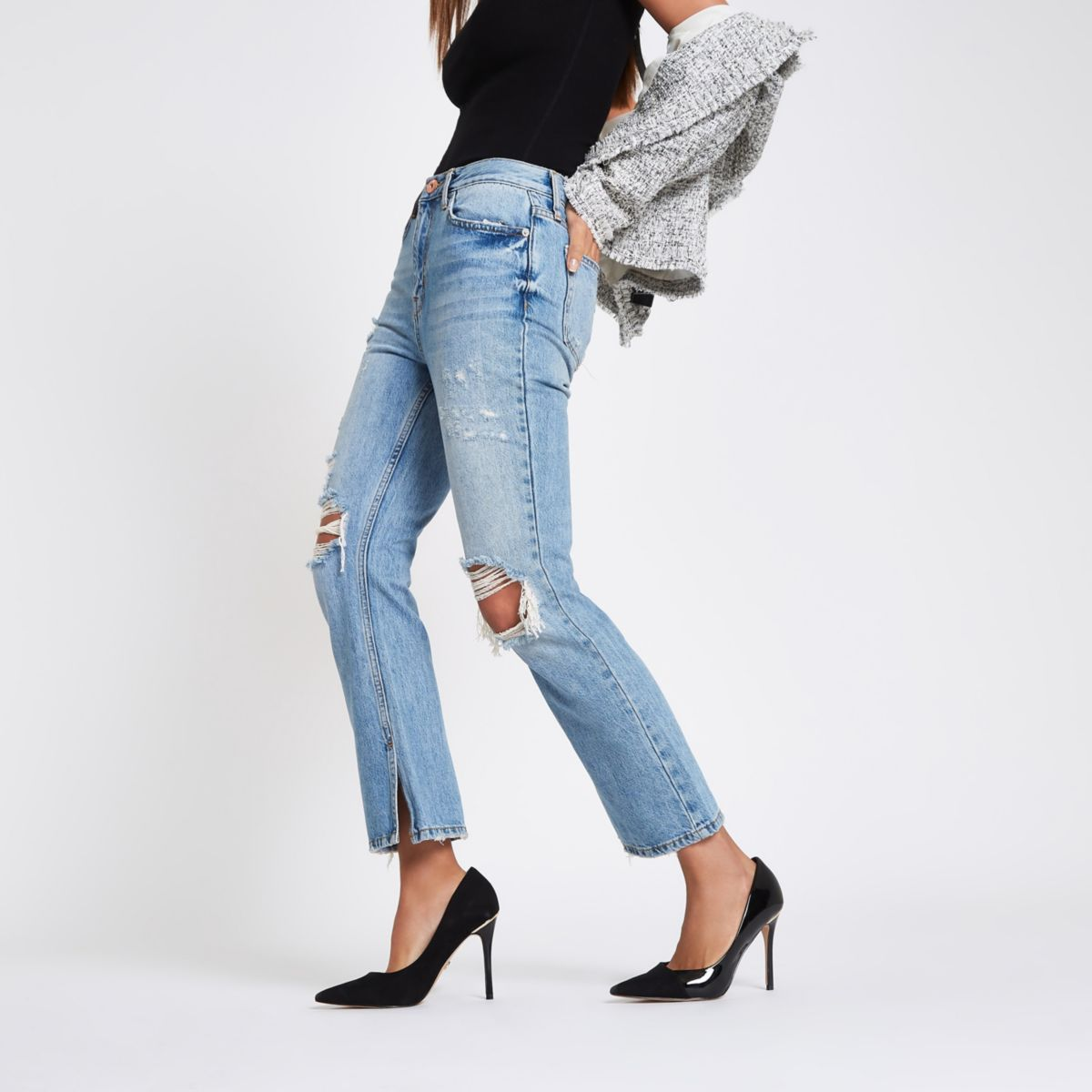 Blue premium crop kickflare ripped jeans