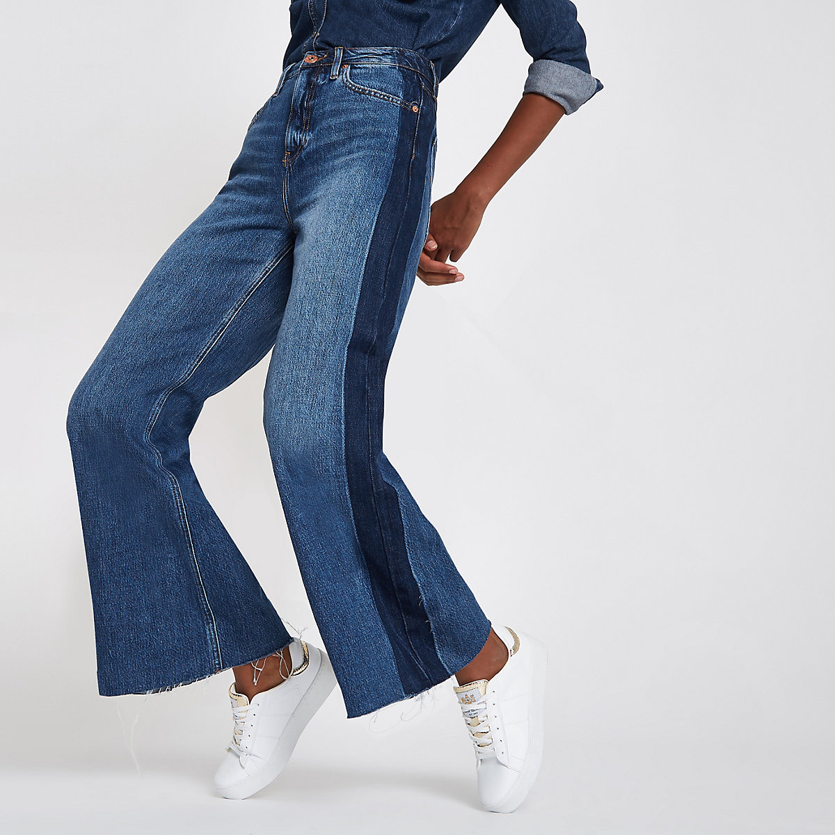 Mid blue premium super wide leg denim jeans
