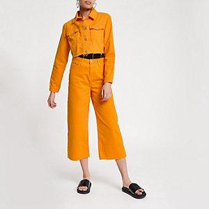 Alexa - Oranje cropped jeans met wijde pijpen