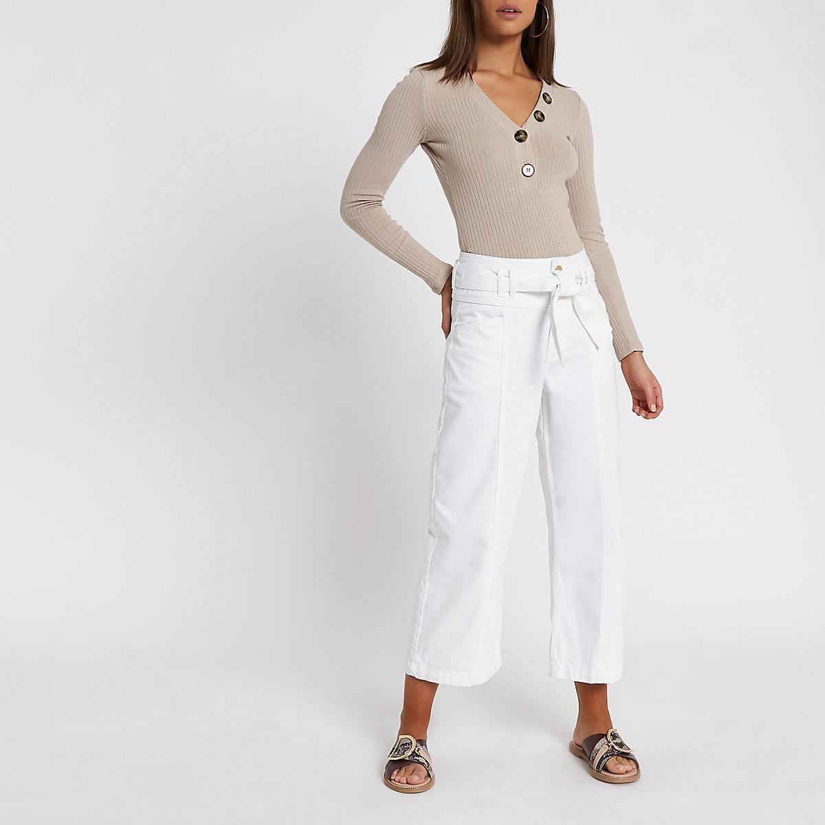 White denim belted culottes