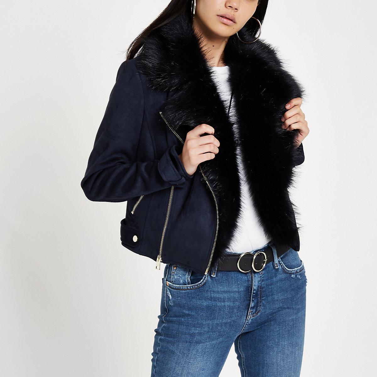 Navy suede faux fur trim biker jacket