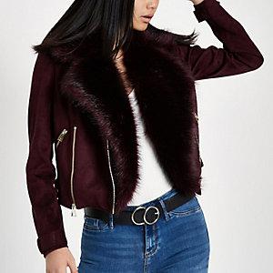 Dark red faux fur trim biker jacket