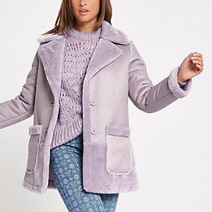 Manteau réversible en fausse fourrure violet clair