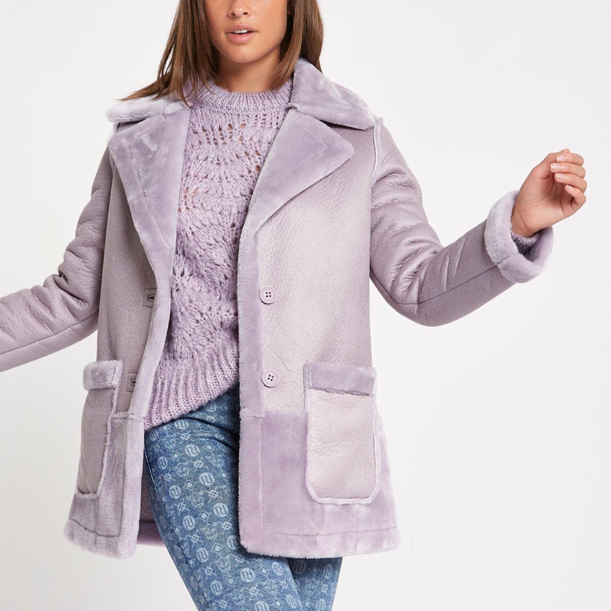 Light purple faux fur reversible coat