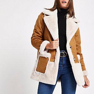 Manteau en suédine marron clair