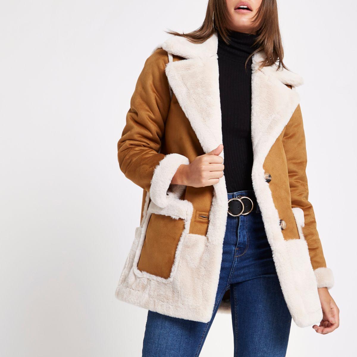 Light brown faux suede coat
