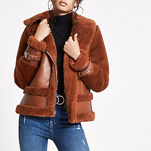 Brown faux fur aviator jacket