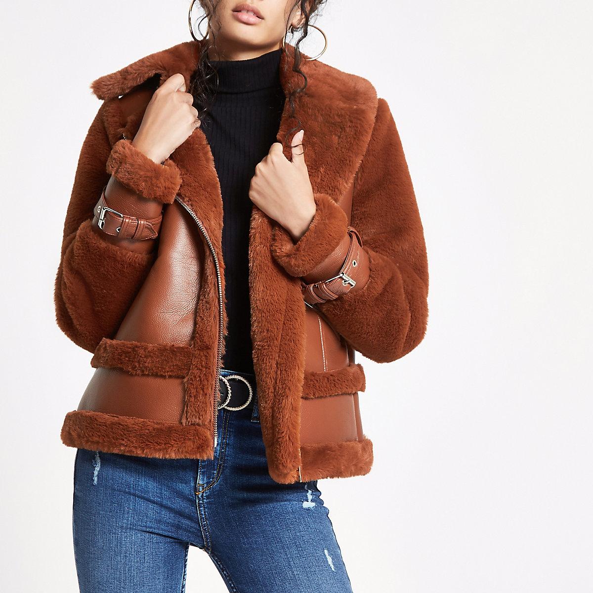 Brown faux fur aviator jacket