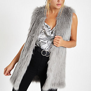 Grey faux fur sleeveless coat