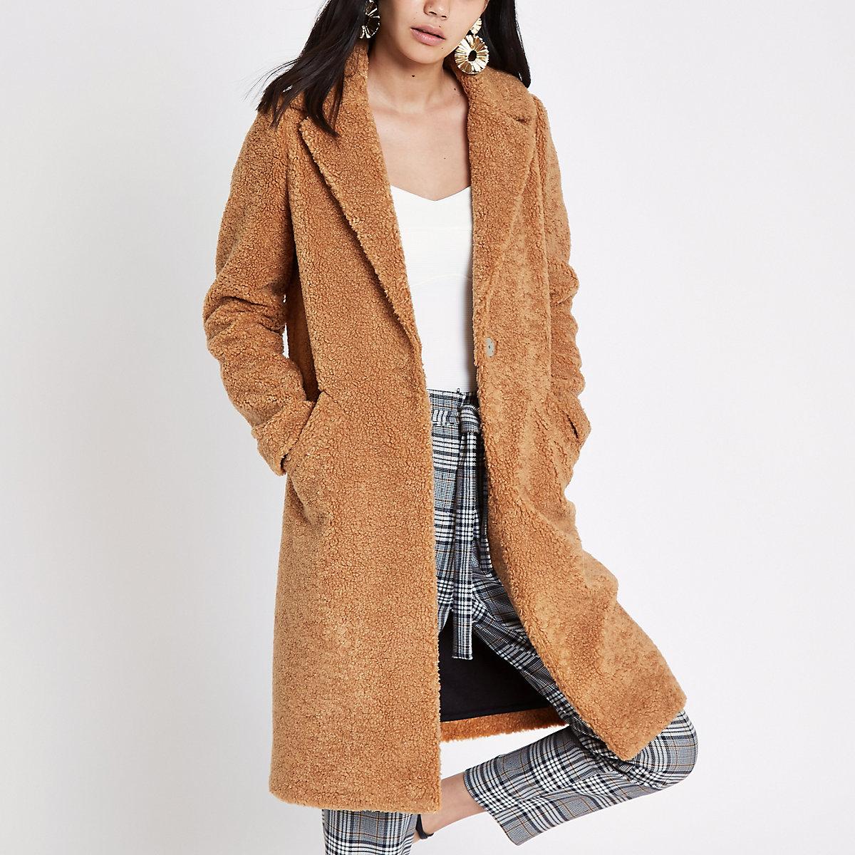 Light brown fleece longline coat