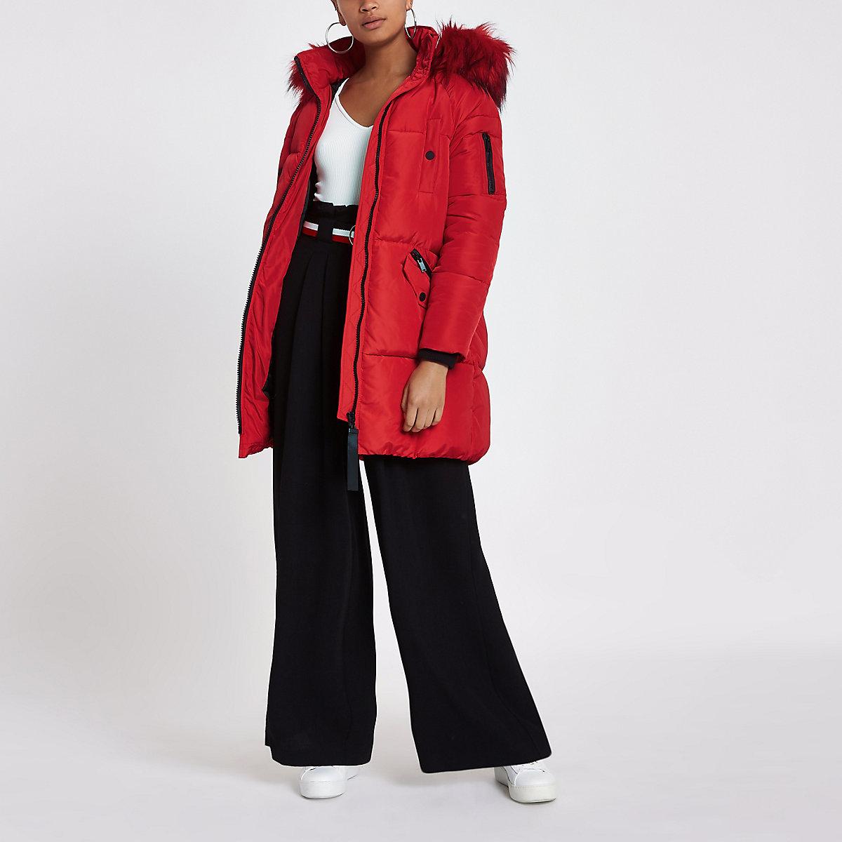 Red faux fur trim longline puffer jacket