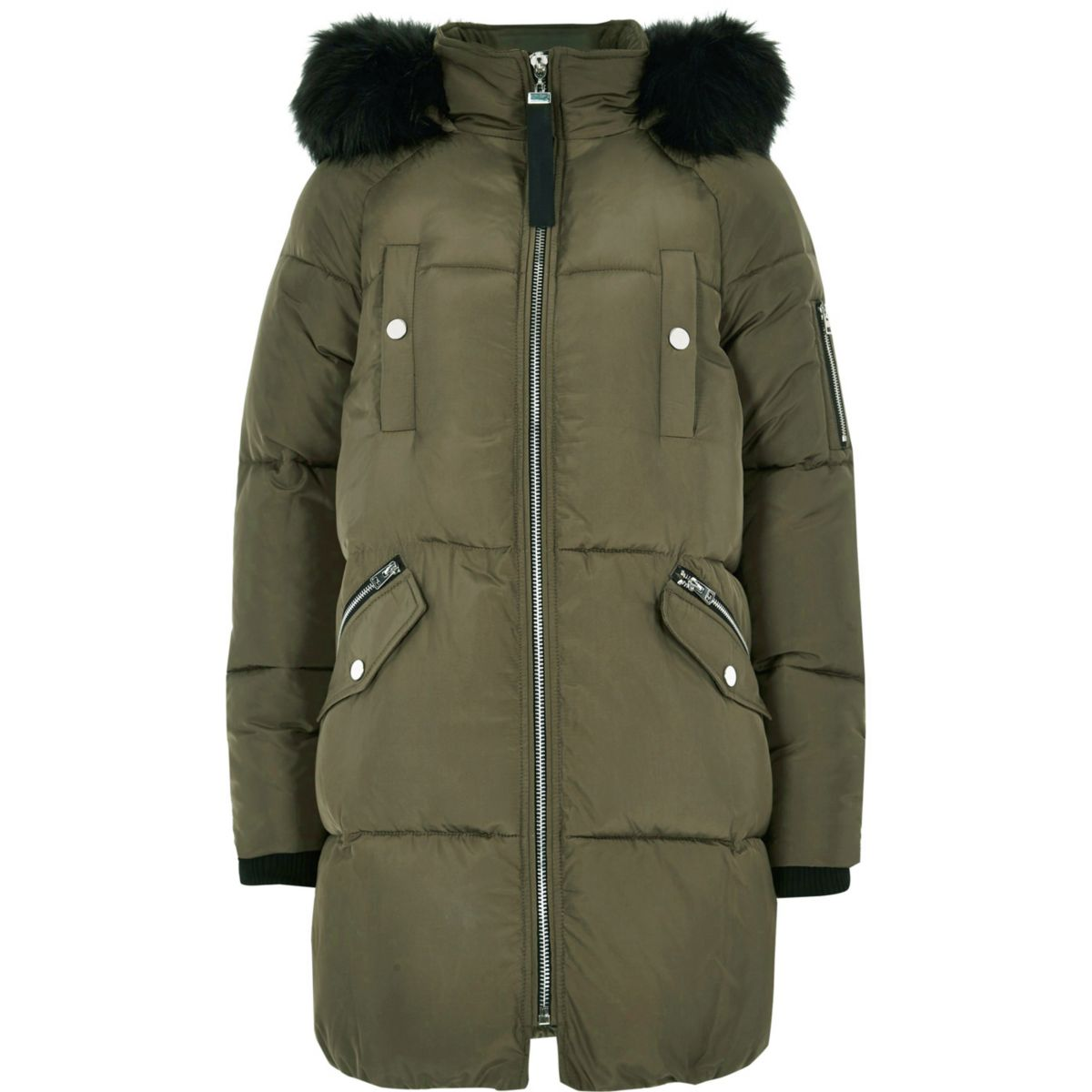 Khaki jacket faux fur trim longline puffer ASArgq