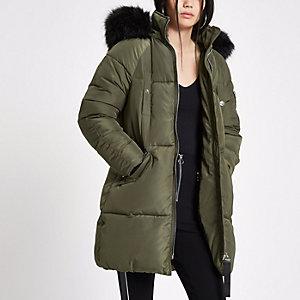Khaki faux fur trim longline puffer jacket