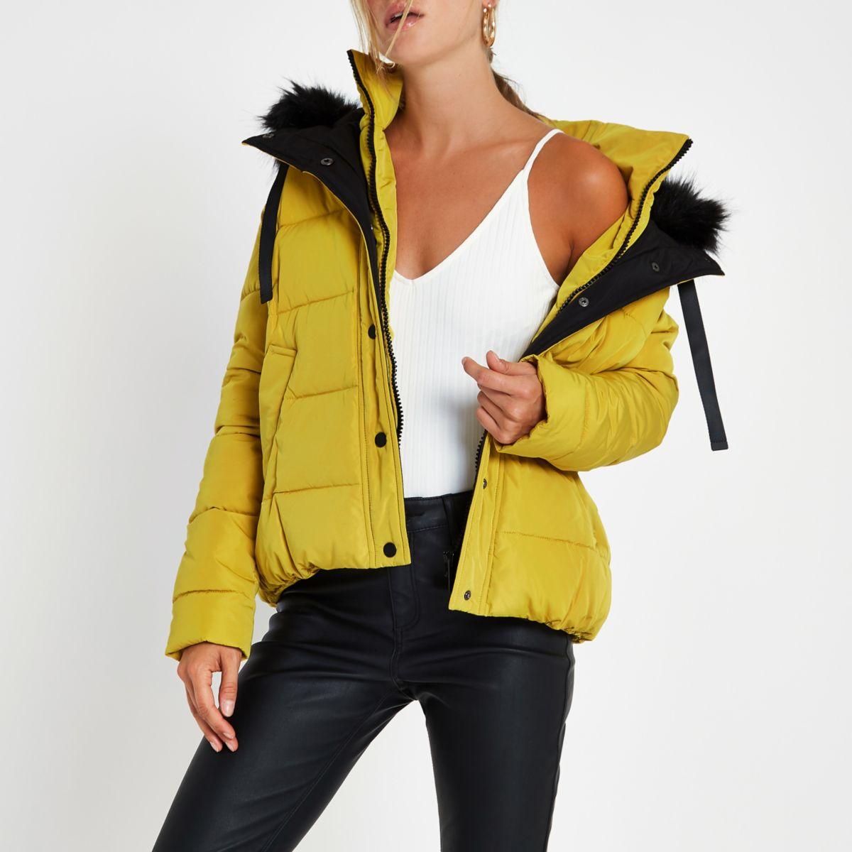 Yellow faux fur hood puffer jacket