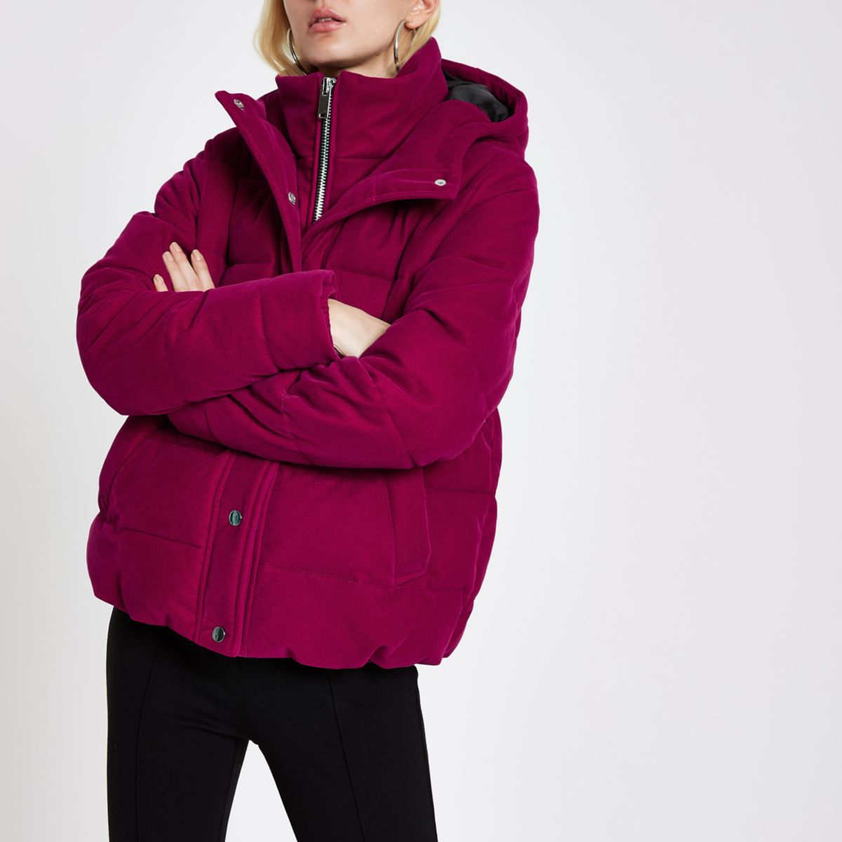 Pink velvet double layer hooded puffer jacket