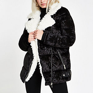 Black faux fur trim biker puffer jacket