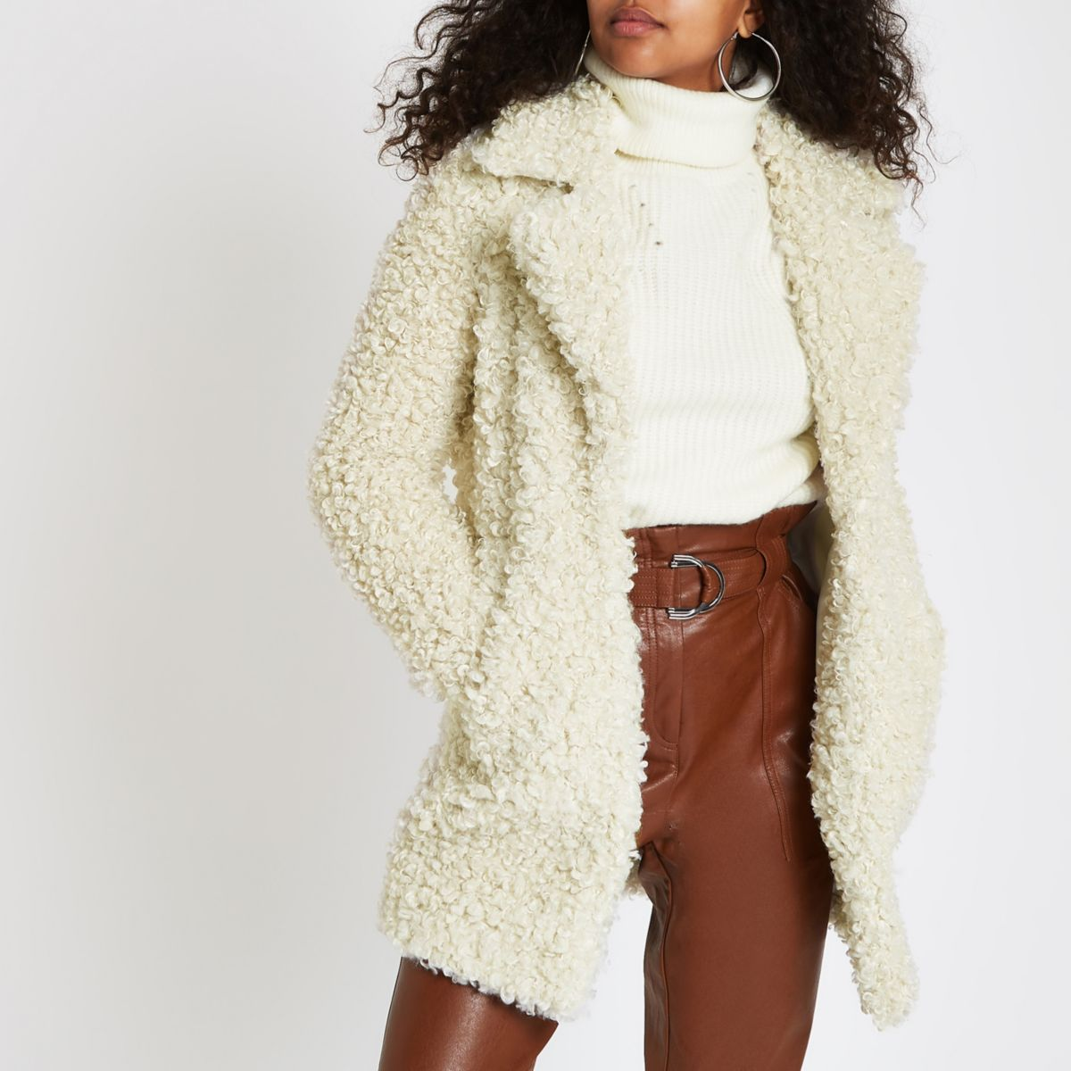Cream shearling fur longline jacket