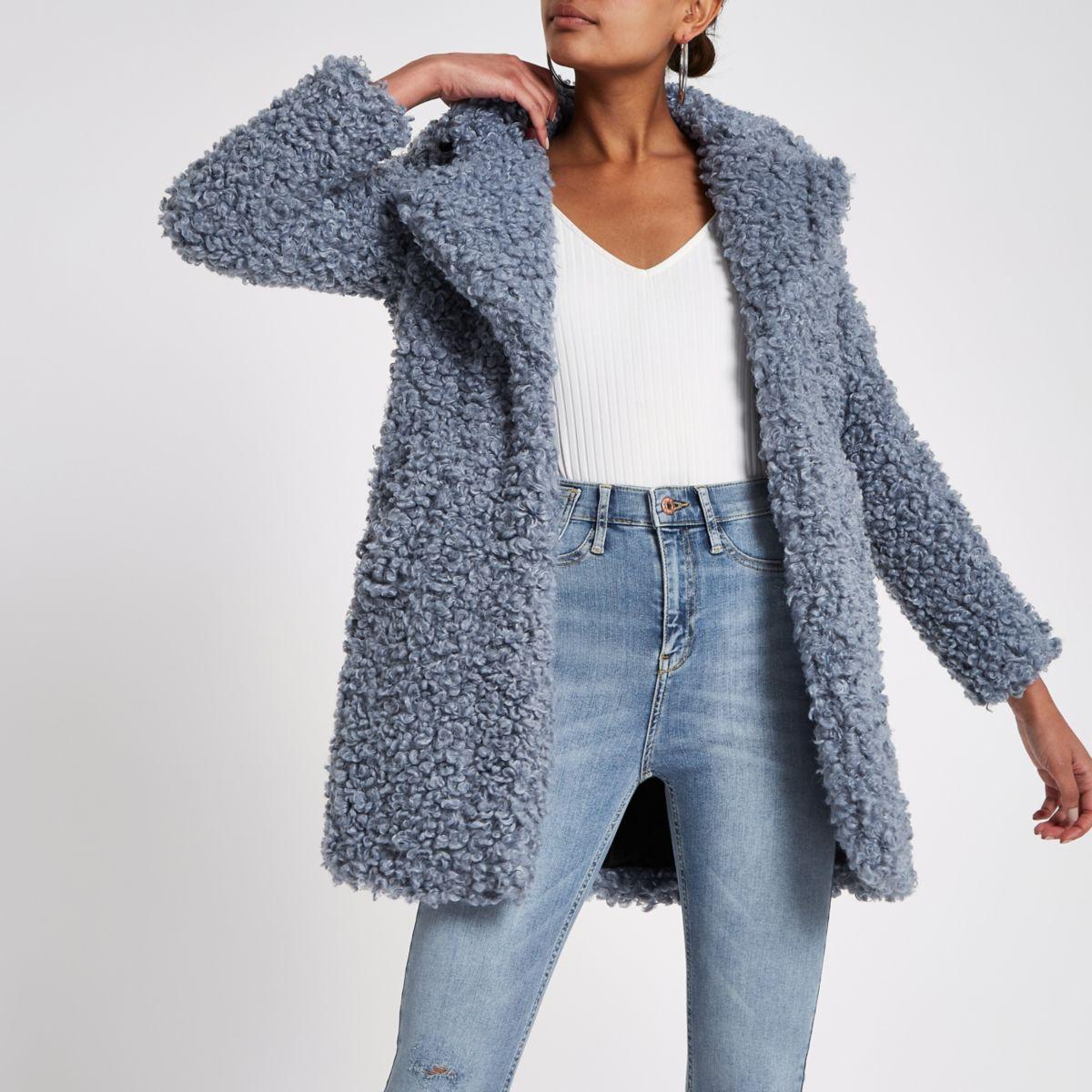 Blue shearling fur longline coat