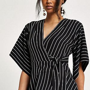 Zwarte gestreepte kimonotop met overslag