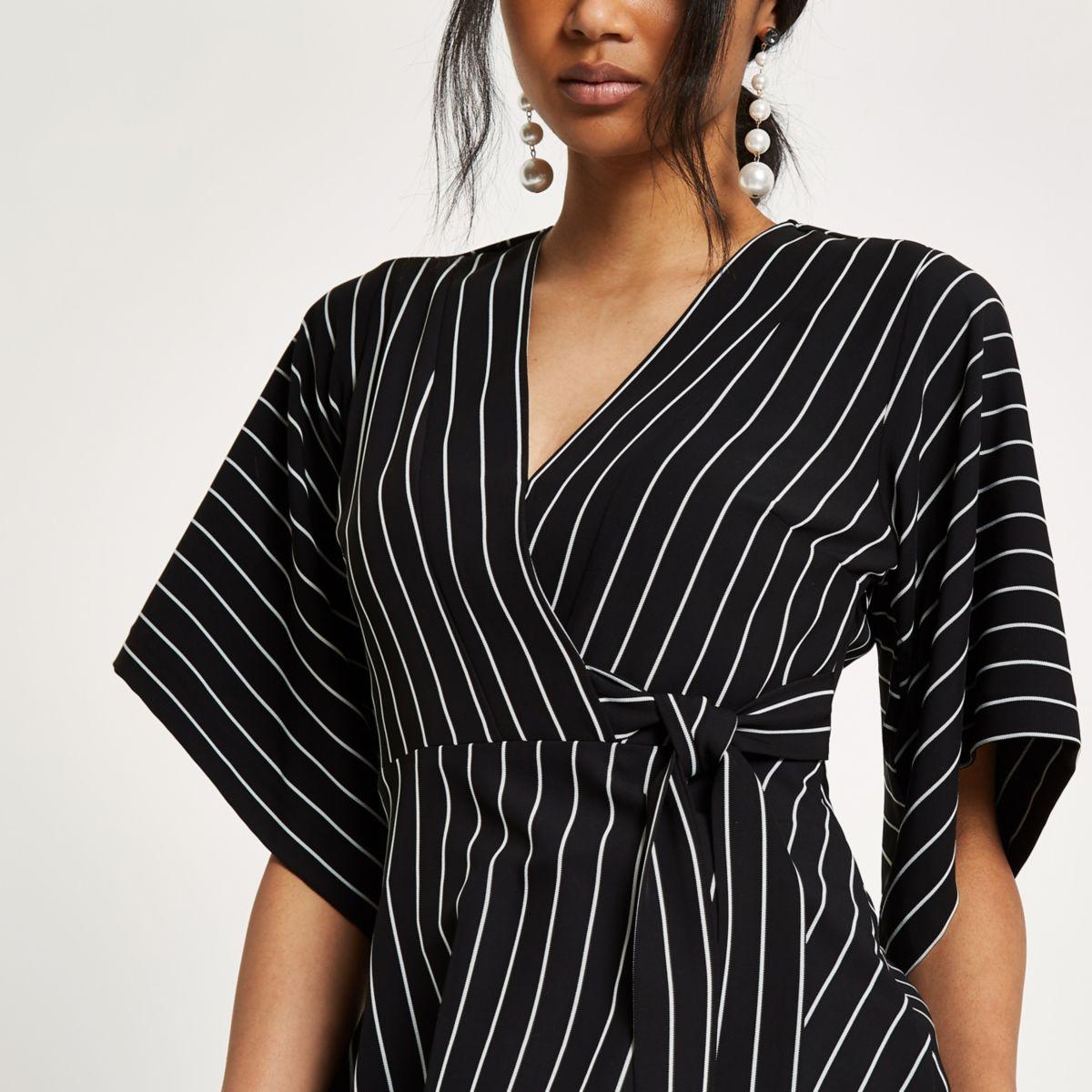 Schwarzes Kimono-Wickeltop mit Streifen