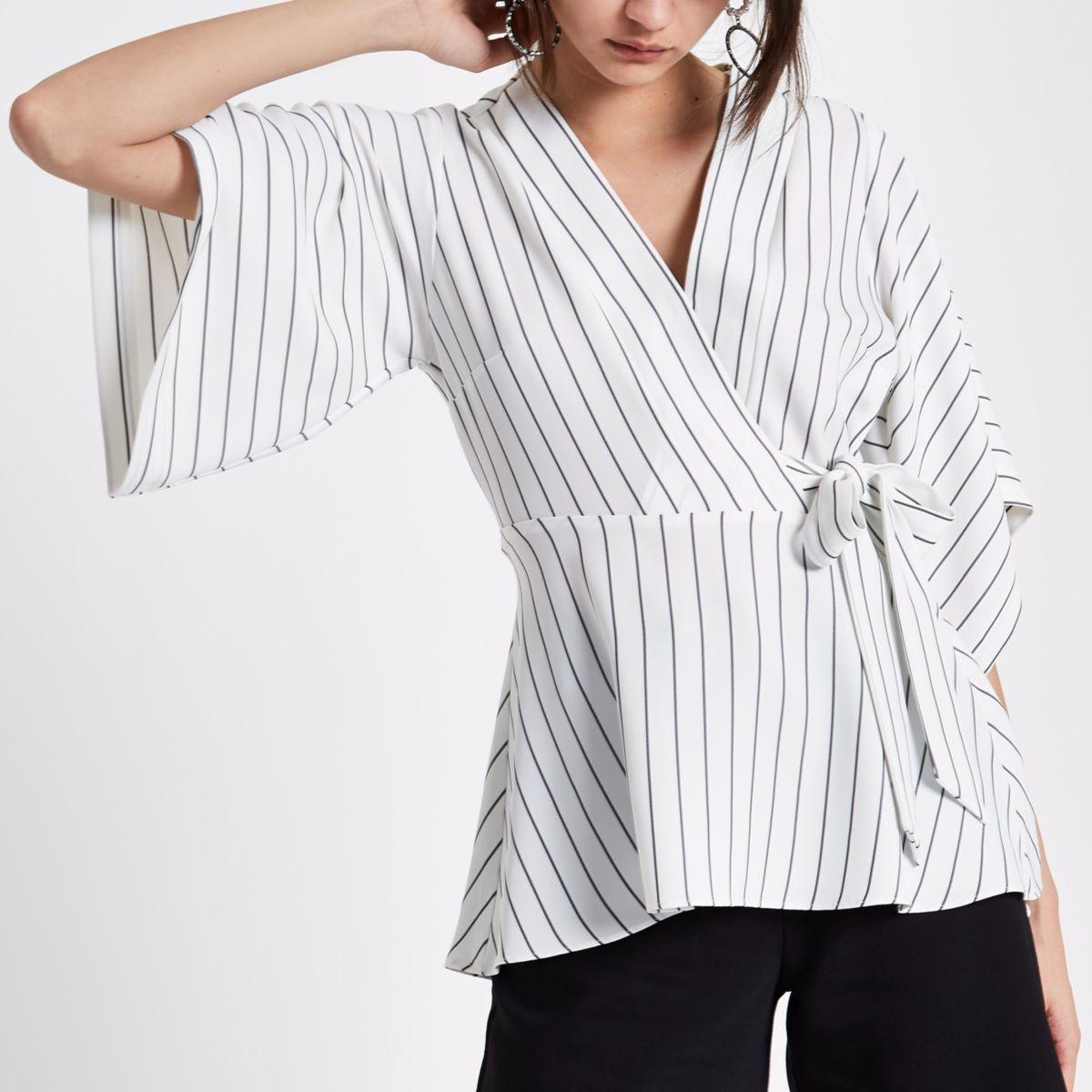 Cream stripe wrap kimono sleeve top