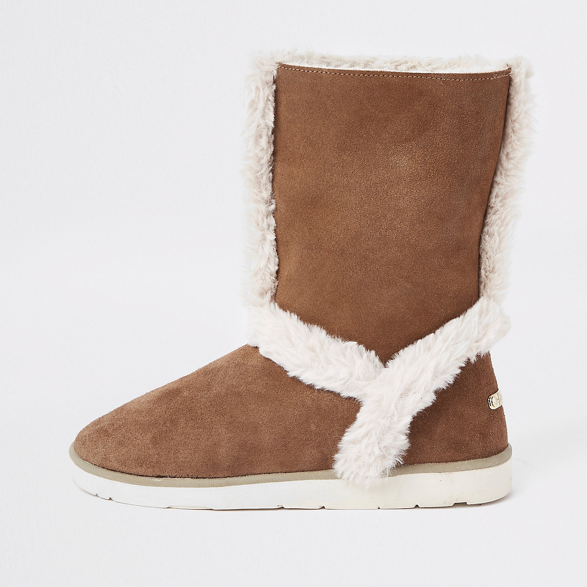 Brown suede faux fur lined boots