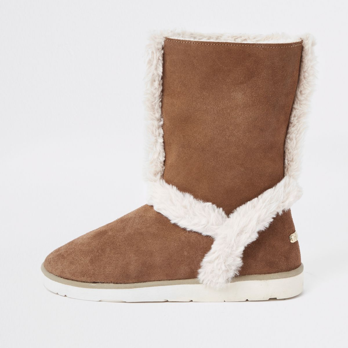 Brown suede fur lined boots