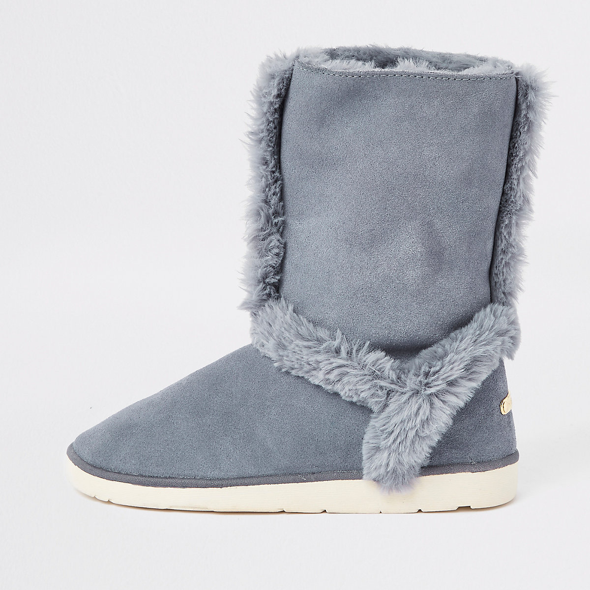 Grey suede faux fur lined boots