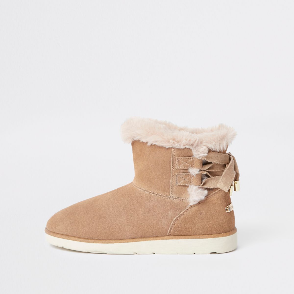Light brown lace back faux fur lined boots