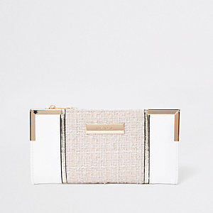 White textured panel slim foldout purse