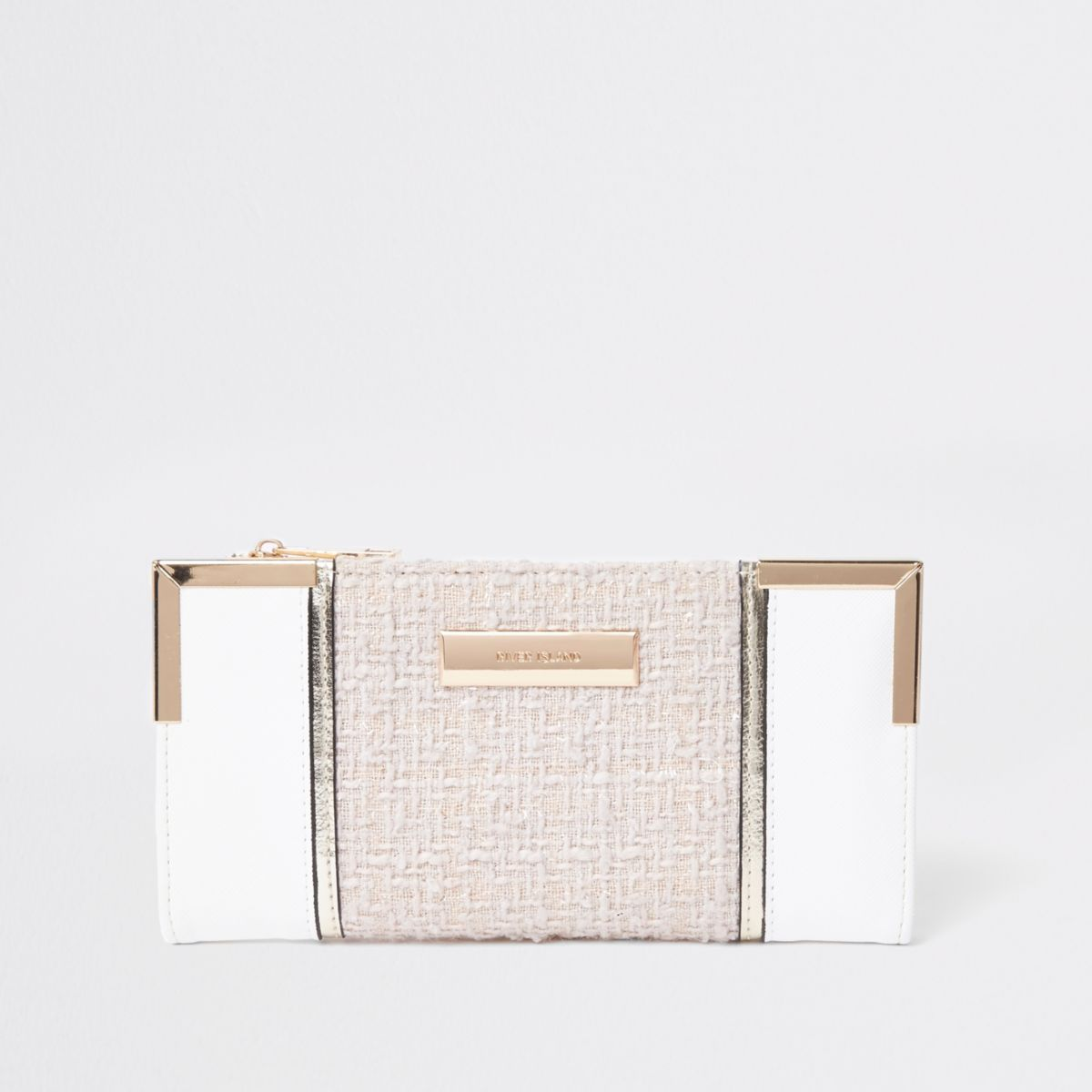 White textured panel slim foldout purse