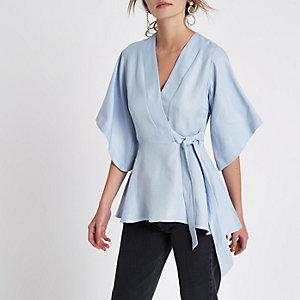 Blue wrap kimono sleeve top
