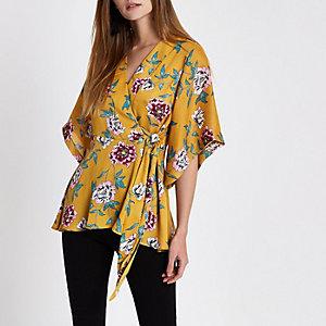 Yellow floral wrap kimono sleeve top
