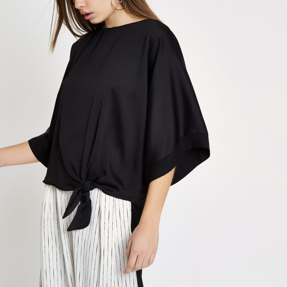 Black satin knot side T-shirt