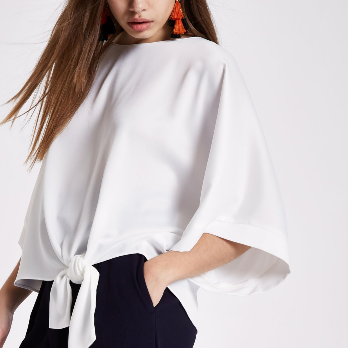 Cream kimono sleeve tie side top