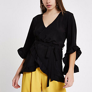Black wrap front frill tie waist top