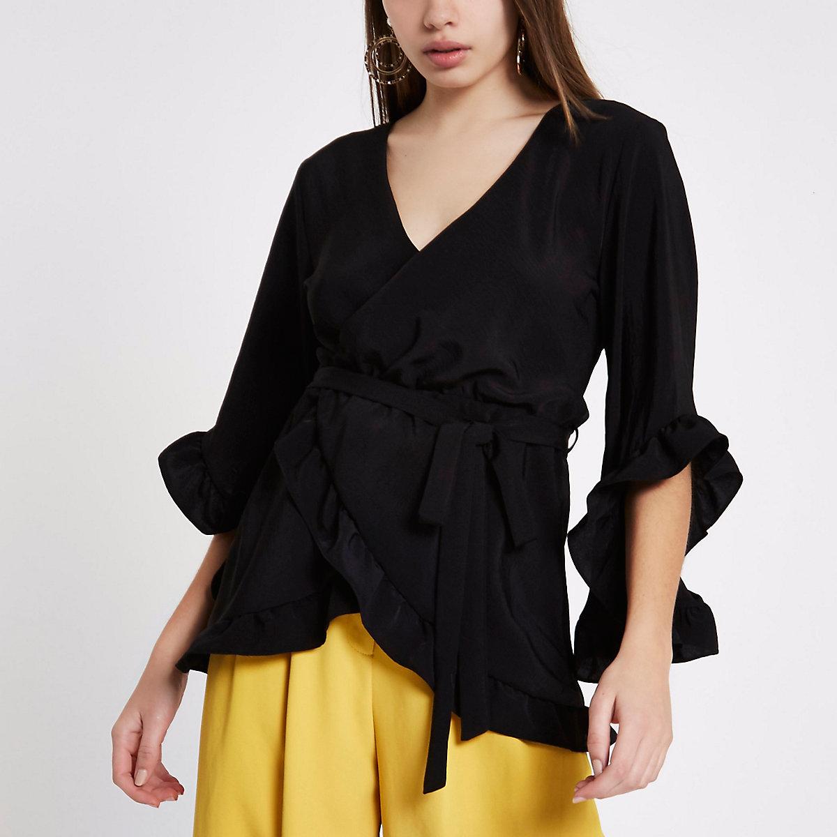 1ebbb0dd2e9 Black wrap front frill tie waist top - Tops - Sale - women