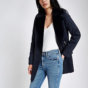 Navy faux suede fallaway jacket