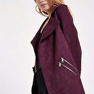 Dark red faux suede longline trench jacket