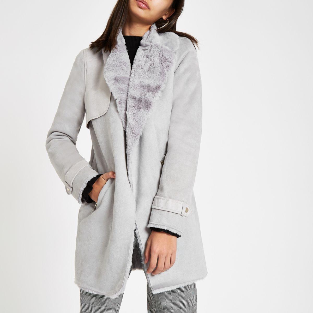 Grey faux fur lined fallaway jacket