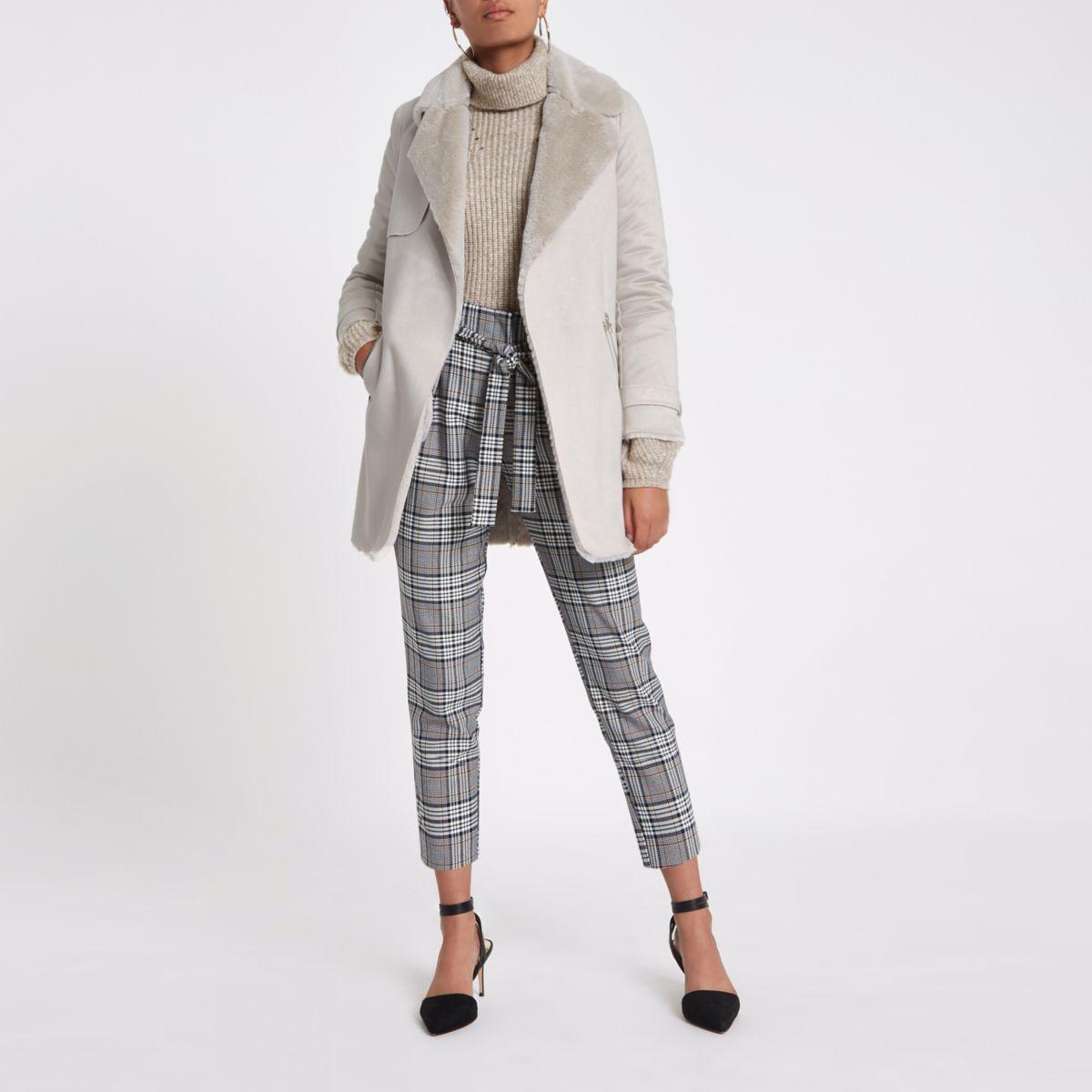 Cream faux fur lined fallaway jacket