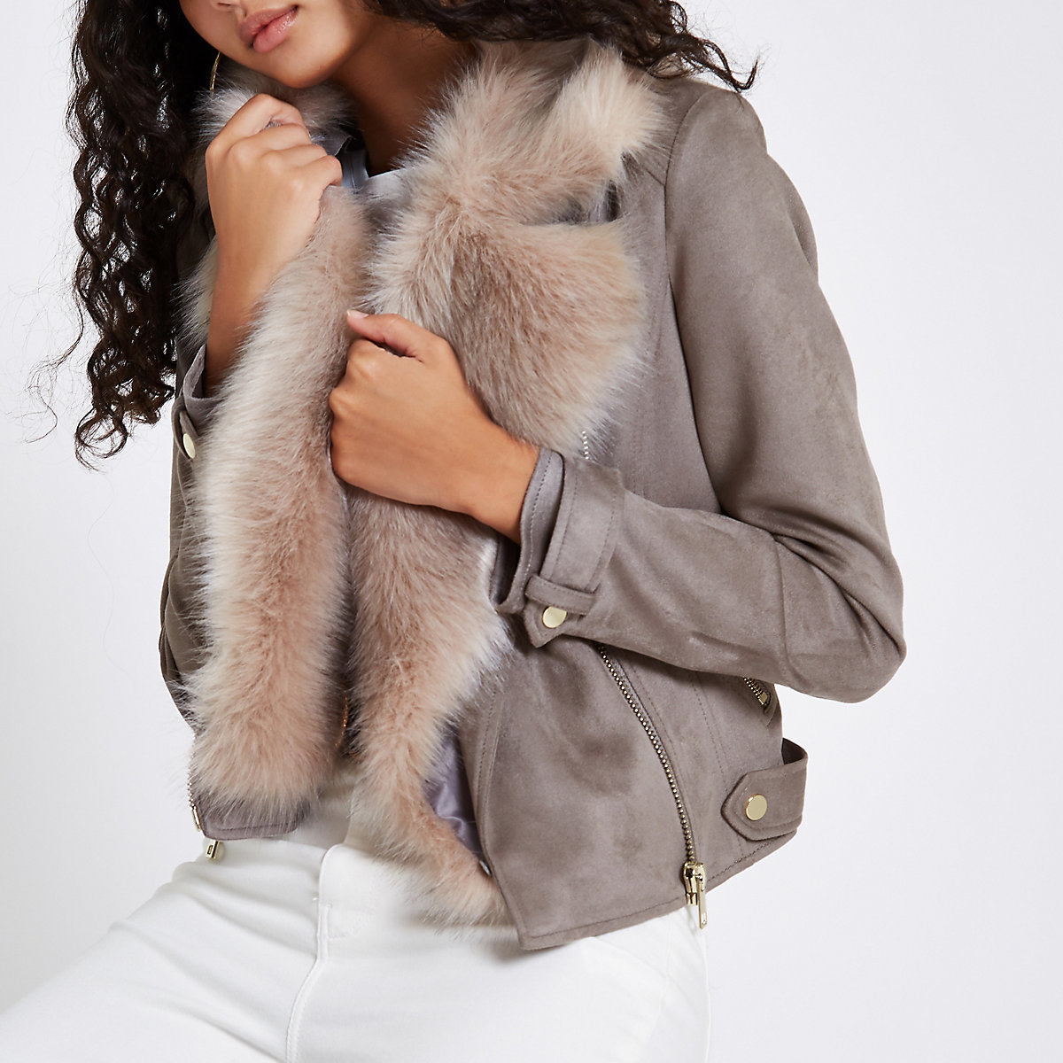 Grey faux suede fur trim biker jacket