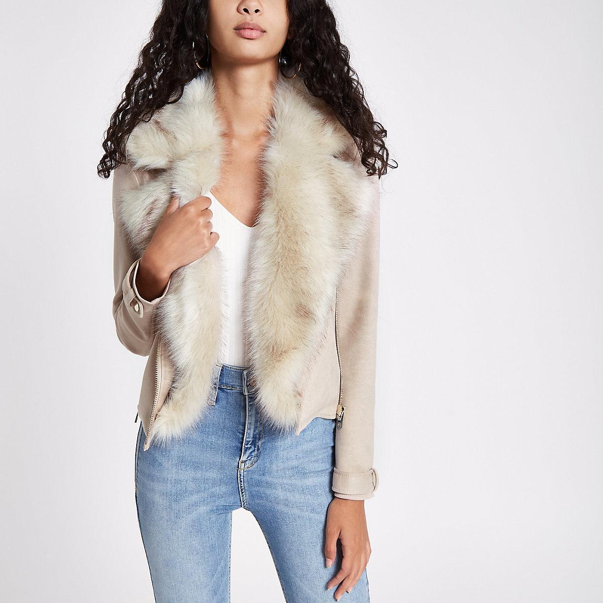 Cream faux suede fur trim biker jacket