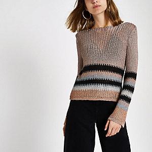 Pink metallic stripe knit crop top