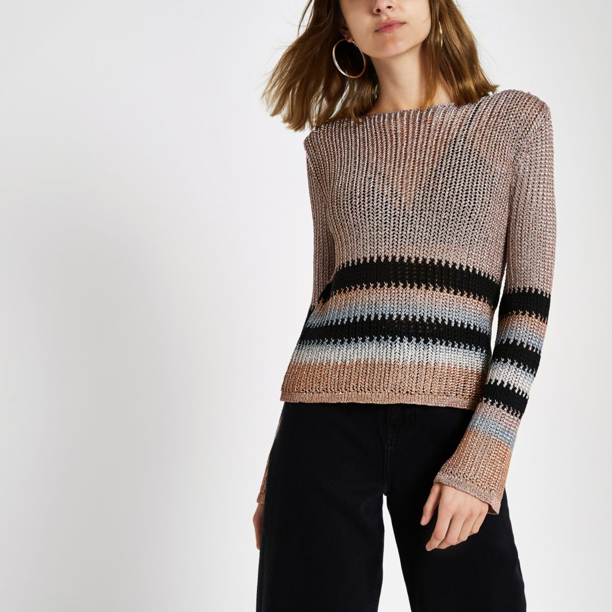 Pink metallic stripe knit crop top