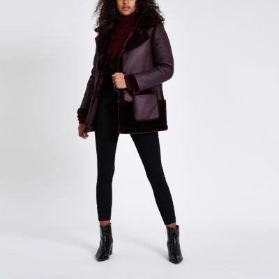 Purple Faux Fur Reversible Coat by River Island