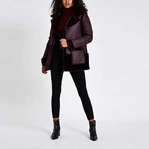 Purple faux fur reversible coat