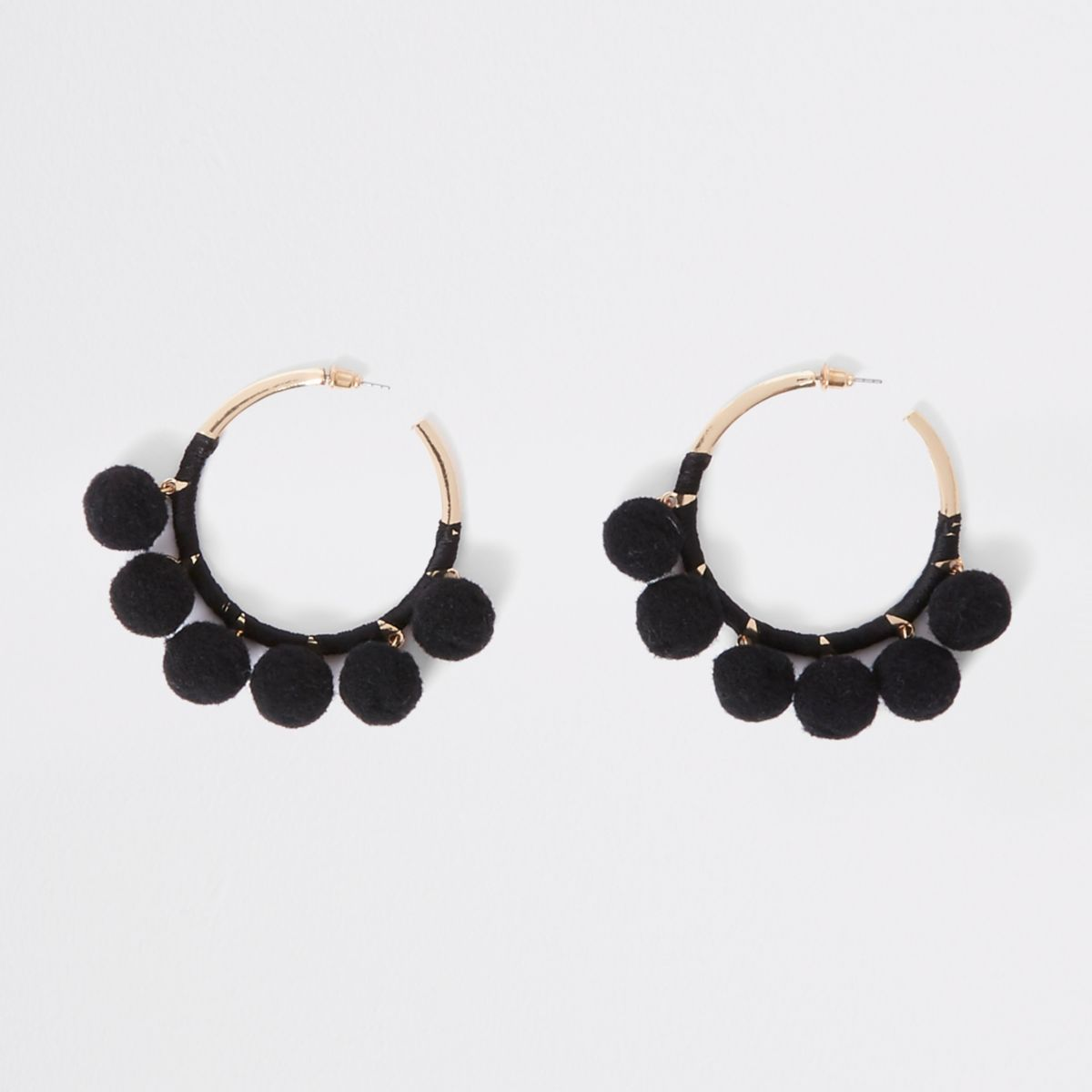 Black pom pom gold tone hoop earrings